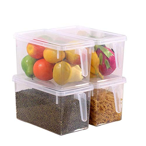 Set of 4 Clear Kitchen Storage Containers by Kurtzy - Refrigerator Freezer and Fridge Container Box with Lid - Large Plastic Boxes for Prep Food, Pantry and Fruit Holder / Rack Shelf / Drawer