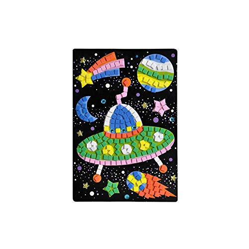 1pc Mosaic Diamond Sticker Art Kits Crystal Puzzle Mini Memory Puzzle game For Kids Animals Educational Toys Children Puzzle Toys (Spaceship Pattern)