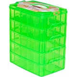 LifeSmart USA Stackable Storage Container Green - 50 Adjustable Compartments - Store More Than All Other Cases - Lego Dimensions - Shopkins - Littlest Pet Shop - Arts and Crafts - and More!