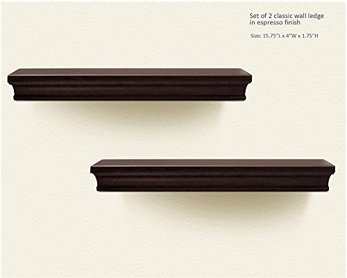 Decorative Wall Shelf Set Espresso Brown Finish Of 2pcs
