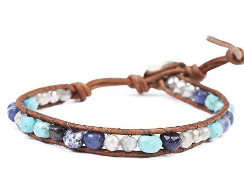 Chan Luu Aqua Blue Mix Semi Precious Mineral Stone Beaded Leather Single Wrap Bracelet