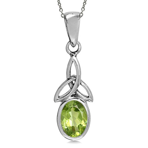 Natural Peridot 925 Sterling Silver Triquetra Celtic Knot Pendant w/ 18 Inch Chain Necklace (Peridot Celtic Knot)