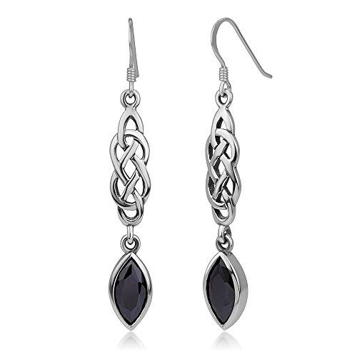 (925 Sterling Silver Celtic Knot Black CZ Cubic Zirconia Stone Dangling Hook Earrings 2.16