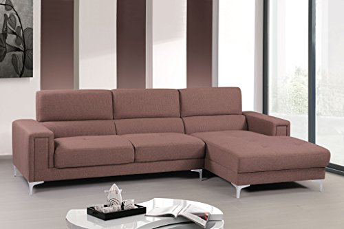 Container Direct Sydney Mid-Century Sectional Sofa with Right-Facing Chaise, Light Brown