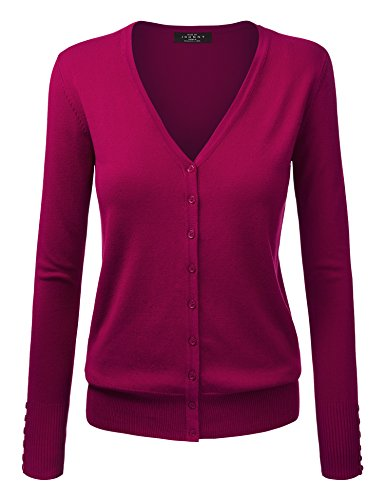 MBJ WSK780 Womens Keep It Classic V Neck Cardigan S Magenta ()
