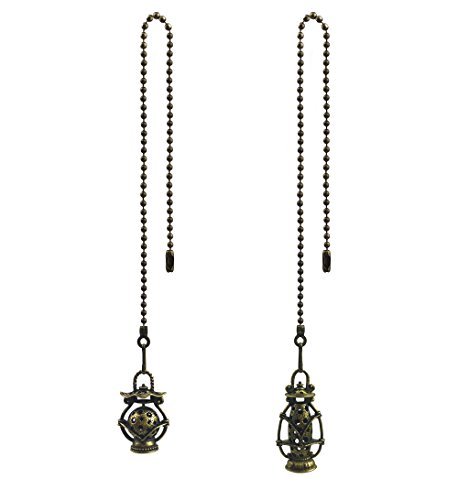 Hyamass 2pcs Vintage Lantern Charm Pendant Ceiling Fan Danglers Fan Pulls Chain Extender with Ball Chain Connector