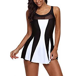 Zando Women One Piece Swimdress Tummy Control Swim Dress Swimwear Slimming Skirt Swimsuits Bathing Suit Dress