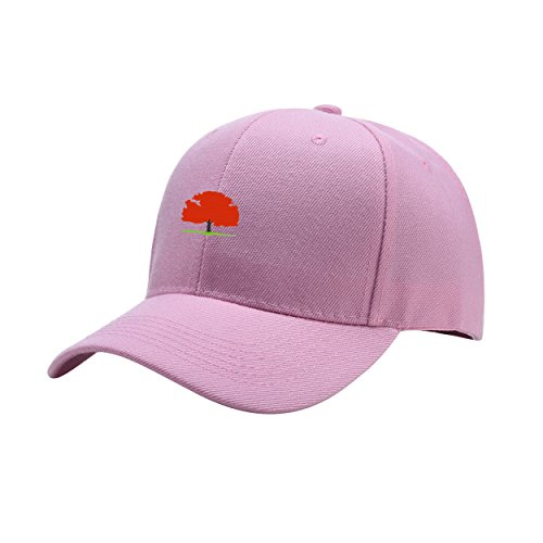 New Jersey State Tree Pink Peaked Hat Embroidered Logo Adjustable Dad Cap (New Jersey State Bird Flower)