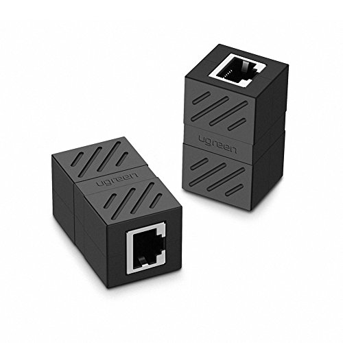 UGREEN RJ45 Coupler 2 Pack in Line Coupler Cat7 Cat6 Cat5e Ethernet Cable Extender Adapter Female to Female (Black)