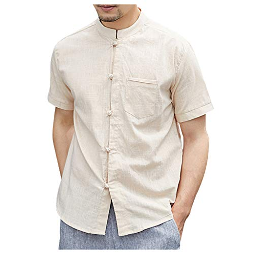 - Yellsong Cotton Linen Shirt Men, Vintage Baggy Solid Retro T Shirts Tops Blouse Mens Short Sleeve Linen Cotton Button Down Fishing Tees Spread Collar Plain Summer Shirts