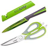 Kitchen Scissors and Knife Set in Gift Box by ECOTONY – 3 Piece Kitchen Shears Set: Stainless Steel Heavy Duty Scissors, Sharp Utility Knife and Knife Cover with Built-in Knife Sharpener