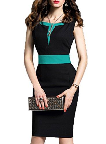 WOOSEA Women's 2/3 Sleeve Colorblock Slim Bodycon Business Pencil Dress (Large, Black #2) - Juniors Colorblock Dress