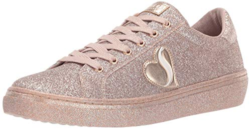(Skechers Women's Goldie-All Over Fine Glitter lace up Sneaker, Rose Gold 7 M US)