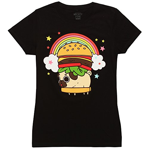 - Mighty Fine Puglie Pug Rainbow Burger Junior T-Shirt - Black (Small)