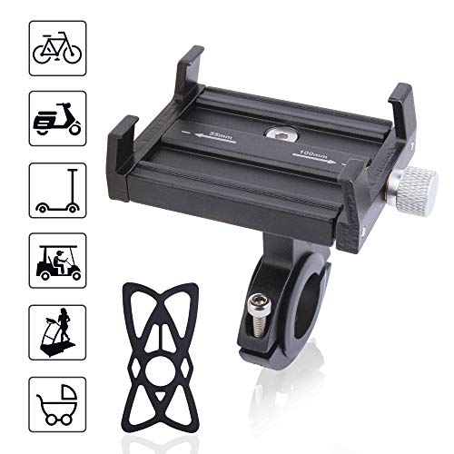 TOMALL Mountain Bike and Bicycle Aluminum Phone Mount Adjustable Anti Shake Metal Universal Bike Phone Mount Scooter Phone holder with Anti Shake Silicone Strap for xiaomi M365