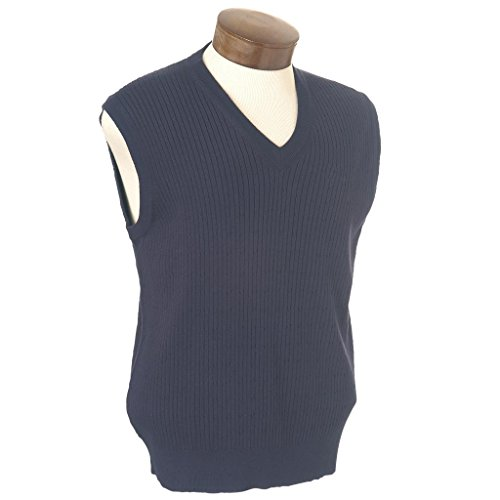 - Monterey Club Mens Cable V-Neck Sweater Vest #1951 (Navy, Small)