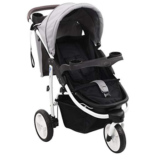 vidaXL Cochecito/Silla de paseo de 3 ruedas gris y negro