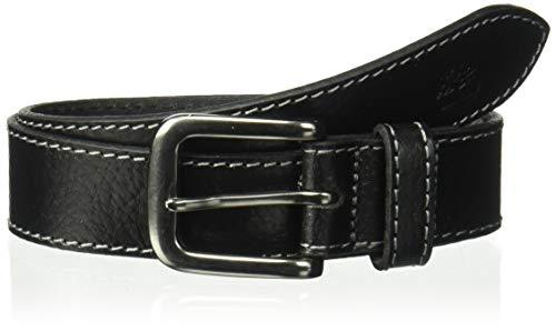 Timberland Boys' Big Leather Belt for Kids, black (buffalo) Large ()
