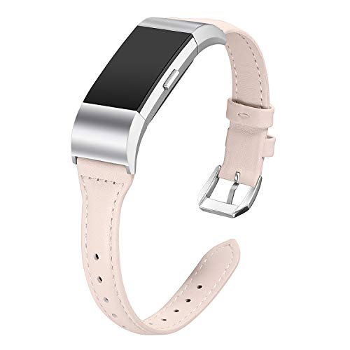 bayite Bands Compatible with Fitbit Charge 2, Slim Genuine Leather Band Replacement Accessories Strap Charge2 Women Men, Pink Large