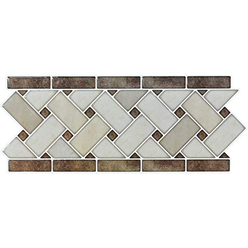 Retro Bathroom Tile - LONGKING Peel and Stick Backsplash Decortaive Tile Stickers Waist Line Retro Mosaic Wall Sticker Kitchen Cabinet Toilet Border, 12.4