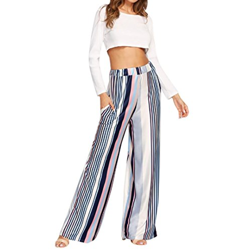 Palarn Women Pants,Ladies Fashion Multicolor Stripe Print Mid Waist Harem Wide Leg Casual Pants (L)