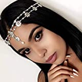 Barogirl Hair Jewelry Head Chain Wedding Bohemian Floral Headband Elastic for Women and Girls (Gold)