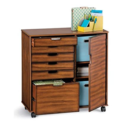 Wooden File Cabinet / Multi Drawer Storage Compartments On Wheels  Walnut  34u0026quot;