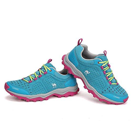 Zapatos Para Caminar Con Cordones Para Mujer Camel Al Aire Libre, Color Azul, Talla 35 M Ue