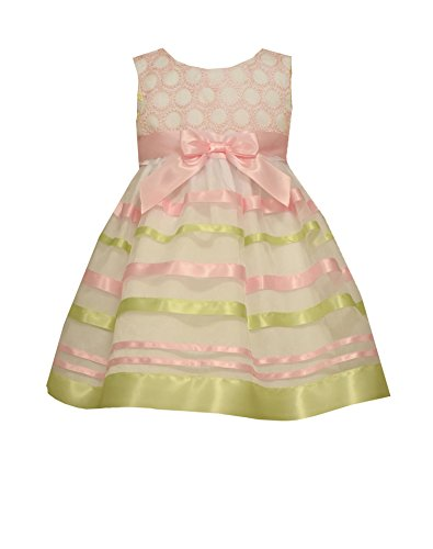 Bonnie Baby Baby Circle Embroidered To Ribbon Organza Dress, Pink, 18 Months ()