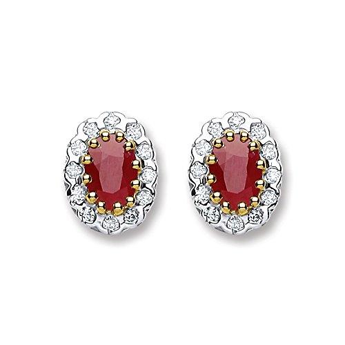 9ct or jaune Diamant et rubis ovale Boucles d'oreille à tige