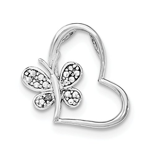 (ICE CARATS 925 Sterling Silver Diamond Butterfly Heart Necklace Chain Slide Pendant Charm Love Fine Jewelry Ideal Gifts For Women Gift Set From Heart)