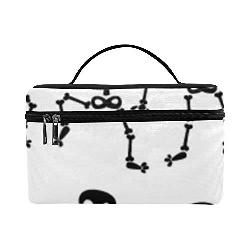 Cool Fashion Dance Skeleton Large Capacity Size Lady Cosmetic Bag Makeup Organizer Lunch Box Tote Holder Case Cooler For Girl Women Travel Picnic -
