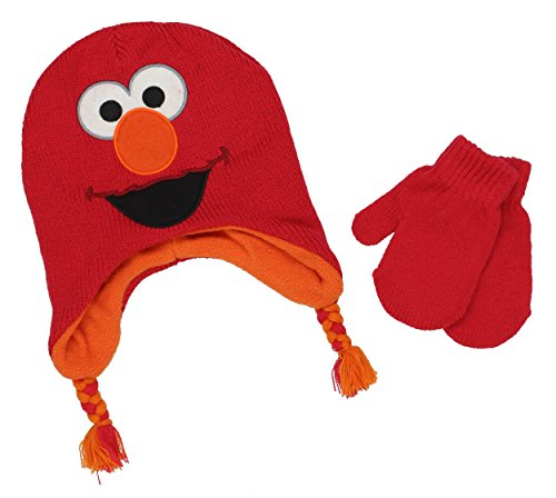 Sesame Street Baby Gear (Sesame Street Baby Beanie Hat and Mittens Set (One Size, Elmo Red))