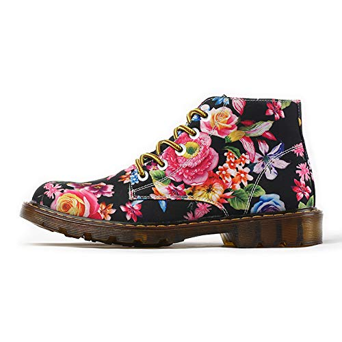 FIRST DANCE Boots for Women Flower Printed Cotton Fabric Shoes Lace-up Ankle Winter Boots for Ladies Cute