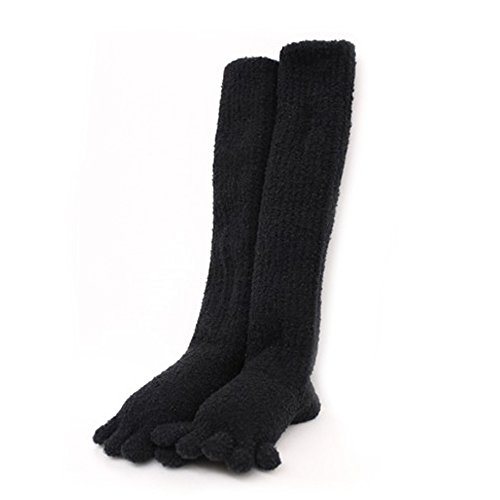 SocksDEPO Made by glove craftsmen Womens Very Warm Fluffy Toe Socks 5 Finger Long Double Thick Thermal Knit