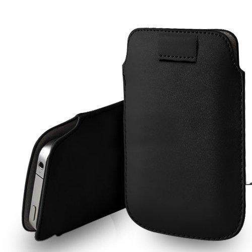 Apple iPhone 6S Black Leder Pull Tab Tasche Tasche + Screen Protector & Poliertuch