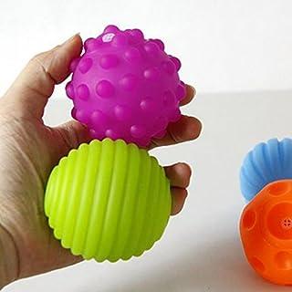 JinZhiCheng Lot de 4Boules sensorielles texturées pour bébé avec effet sonore