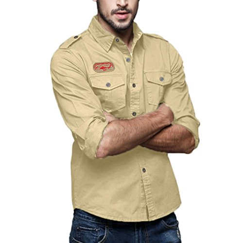 AKIMPE Mens Autumn Casual Military Cargo Slim Button Long Sleeve Dress Shirt Top Blouse ()