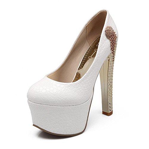 Allhqfashion Mujer Charol Material Suave Slip-on Tacón de Aguja Puntera Redonda ZapatosdeTacón Blanco