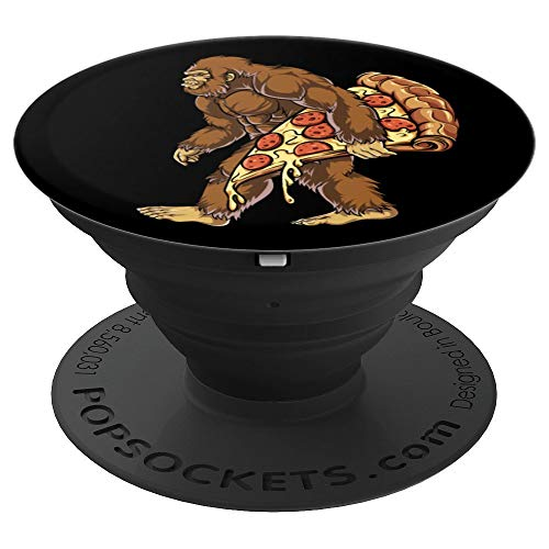 Bigfoot Pizza Cool Sasquatch Food Lovers Funny Black Gifts - PopSockets Grip and Stand for Phones and Tablets -