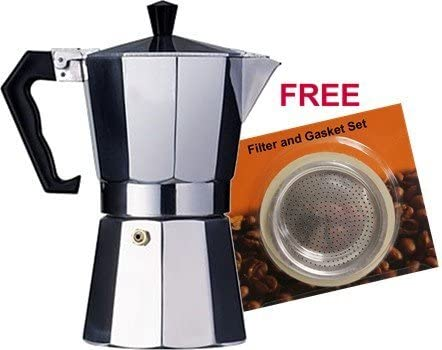 Aluminum Cuban Style Coffee Maker 1 cup, plus spare gasket and filter set