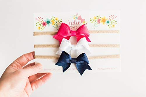 Indie Bow Co Handmade Premium Ribbon Bow Headbands Set of 3 in Pink, White, and Navy