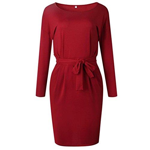 Manches Printemps Solide Mini Arc V zahuihuiM Paty Femmes Mode Robe Automne Court Longues pour Col Poche Robe Vin Occasionnel RwWwvp5qF