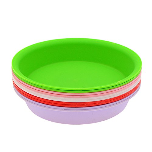 Saim Plastic Plant Saucers Round Potted Plant Saucer Clay Flower Pot Saucer Pallet Trays Plant Container Accessories for Indoor & Outdoor Plants, Multi-color, Pack of 10