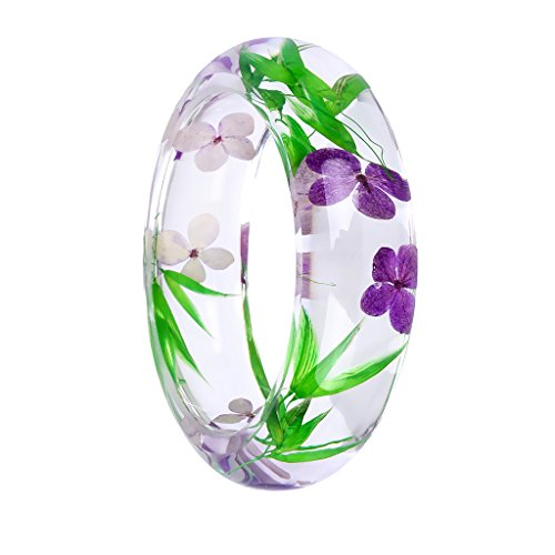 - Jili Online Handmade Lucite Plastic Dried Flower Incased Resin Womens Bracelet Cuff Bangle Multi-color - Green, Purple