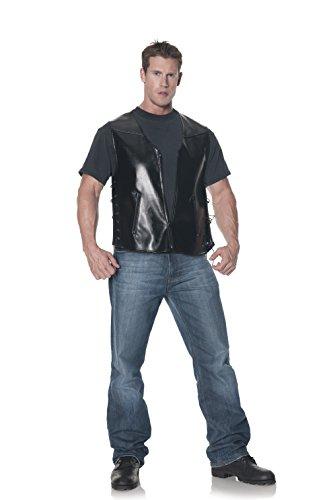 Plus Size Biker Costume (Underwraps Men's Plus-Size Deluxe Biker Vest, Black, XX-Large)