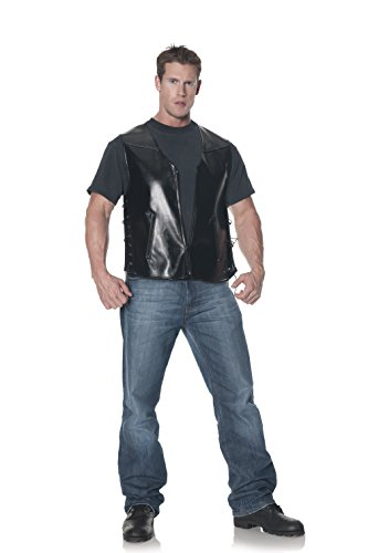 Underwraps Men's Plus-Size Deluxe Biker Vest, Black, XX-Large (Plus Size Biker Halloween Costumes)