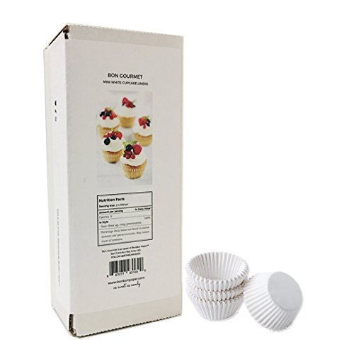 White Fluted Baking Paper Cup - Mini Cupcake Cup Liners - 1000 -