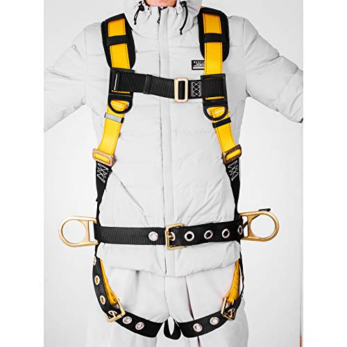 Happybuy Construction Safety Harness Fall Protection Full Body Safety Harness with 3 D-Rings,Belt and Additional Padding (Yellow with Belt) by Happybuy (Image #2)