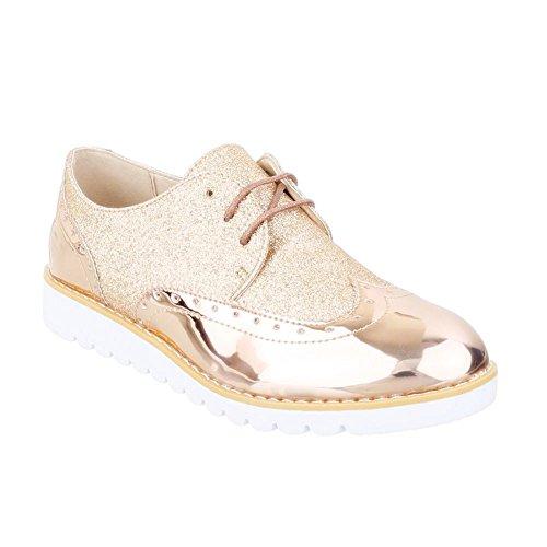 Damen Halbschuhe Brogues Schnürer Dandy Lack Plateauschuhe Keilabsatz Metallic 036 (38, Gold) King Of Shoes